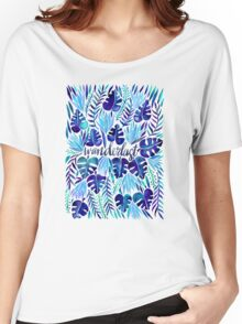 Tropical Wanderlust – Blue Women's Relaxed Fit T-Shirt