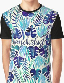 Tropical Wanderlust – Blue Graphic T-Shirt