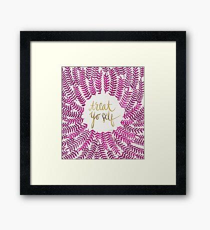 Treat Yo Self – Gold & Pink Framed Print