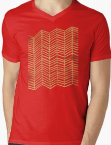 Gold Herringbone Mens V-Neck T-Shirt