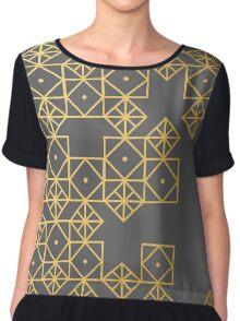 Geometric Gold Chiffon Top