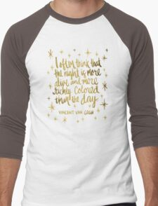 Night Owl – Gold Men's Baseball ¾ T-Shirt