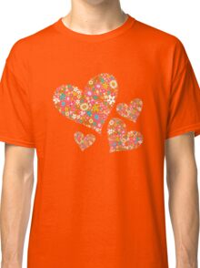 Spring Flowers Valentine Pink Hearts Classic T-Shirt