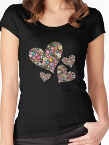 Spring Flowers Valentine Pink Hearts Women's Fitted Scoop T-Shirt