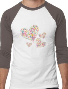 Spring Flowers Valentine Pink Hearts Men's Baseball ¾ T-Shirt