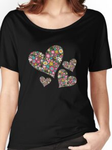 Spring Flowers Valentine Pink Hearts Women's Relaxed Fit T-Shirt