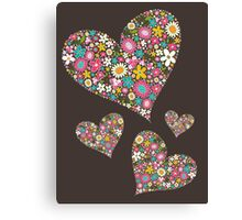 Spring Flowers Valentine Pink Hearts Canvas Print
