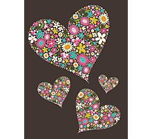 Spring Flowers Valentine Pink Hearts Photographic Print