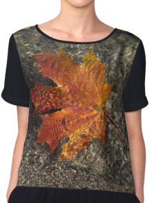 Maple Leaf - Playful Sunlight Patterns Chiffon Top