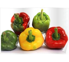 Red Yellow and Green Peppers Poster
