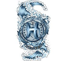 PISCES (Aquamarine) Aquatic Zodiac sign Photographic Print