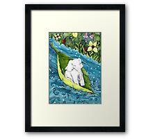 Ellie in a Leaf Boat Framed Print