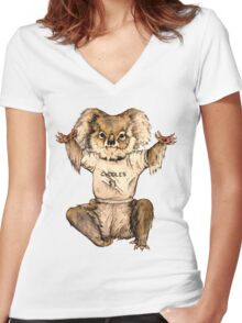 Cuddle Koala Women's Fitted V-Neck T-Shirt