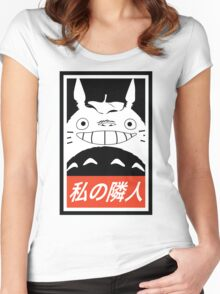 My Neighbor, Totoro! (Obey Parody) Women's Fitted Scoop T-Shirt