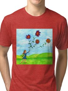 Girl With Flowers Tri-blend T-Shirt