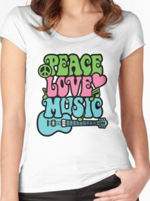 Peace Love Music Women's Fitted Scoop T-Shirt