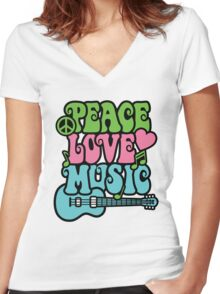 Peace Love Music Women's Fitted V-Neck T-Shirt