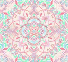 Mint and Blush Pink Painted Mandala by micklyn