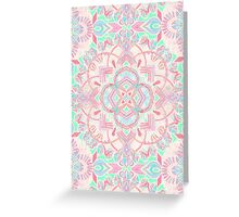 Mint and Blush Pink Painted Mandala Greeting Card