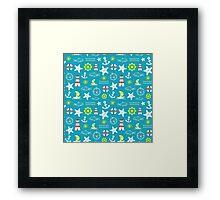 Seamless nautical pattern Framed Print