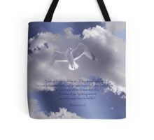 Seagull with Matthew 6:26-27 in White Letters Tote Bag