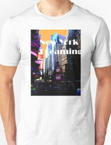 New York Dreaming - Times Square - Orange Background Unisex T-Shirt
