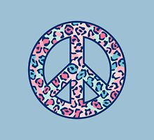 Leopard Print Peace Symbol Womens Fitted T-Shirt