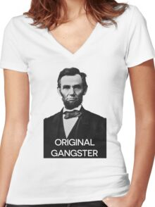 Abraham Lincoln Orignal Gangster Women's Fitted V-Neck T-Shirt
