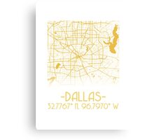 Map of Dallas-Gold Canvas Print