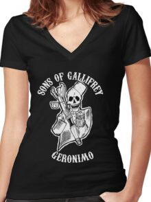 Sons of Gallifrey Women's Fitted V-Neck T-Shirt