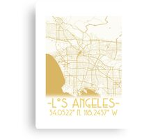 Map of Los Angeles-Gold Canvas Print