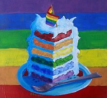 Gay Pride, Birthday, or Wedding Cake  by Pamela Burger