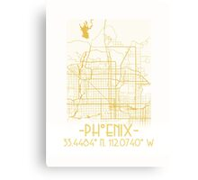 Map of Phoenix-Gold  Canvas Print