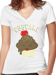 cupcake <3 Women's Fitted V-Neck T-Shirt