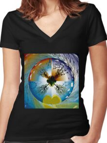 THE FOUR SEASONS Women's Fitted V-Neck T-Shirt