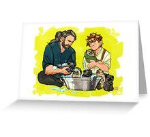 rub a dub dub six pugs in a tub Greeting Card