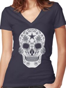 Dallas Sugar Skull Women's Fitted V-Neck T-Shirt