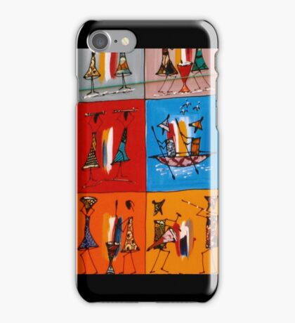 African mixed media painting - Print iPhone Case/Skin