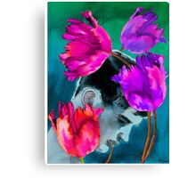 Enchanted Youth among Tulips Canvas Print