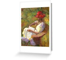 Profile of girl in the red hat Greeting Card