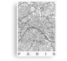 Paris Map Line Canvas Print