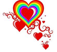 squiggle rainbow hearts Photographic Print