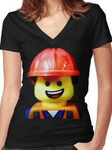 Hard Hat Emmet Women's Fitted V-Neck T-Shirt