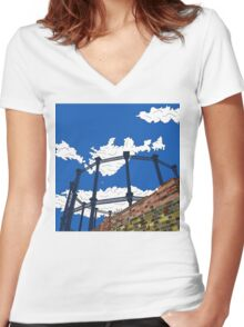 Regent's Canal Gas Tower Women's Fitted V-Neck T-Shirt