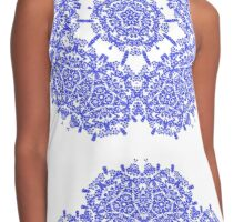 Floral Lacy Vintage Damask Indigo Blue And White  Contrast Tank