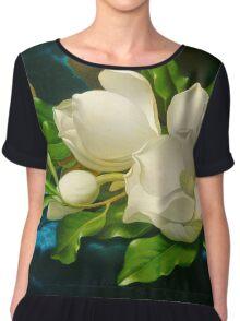 Giant Magnolias Fine Art Chiffon Top