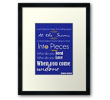 Duran Duran Lyrics Shirt - Come Undone Framed Print