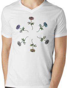 Scattered Flowers White Mens V-Neck T-Shirt