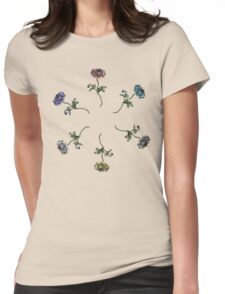 Scattered Flowers White Womens Fitted T-Shirt