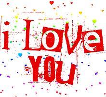 i love you rainbow hearts by chromatosis